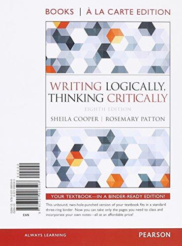 9780321996596: Writing Logically Thinking Critically, Books a la Carte Edition (8th Edition)