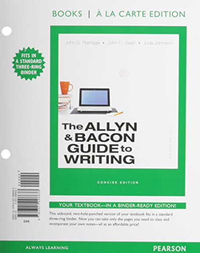 9780321996633: The Allyn & Bacon Guide to Writing, Concise Edition, Books a la Carte Edition (7th Edition)