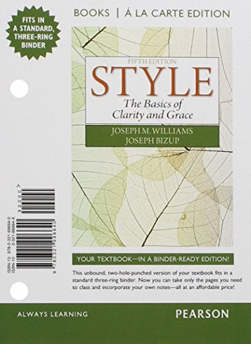 9780321996640: Style: The Basics of Clarity and Grace, Books a la Carte Edition (5th Edition)