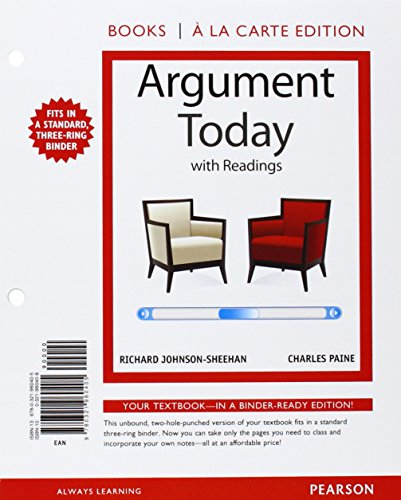 9780321997272: Argument Today with Readings, Books a la Carte Plus MyWritingLab with eText -- Access Card Package