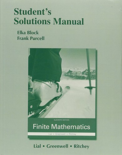 9780321997425: Student's Solutions Manual for Finite Mathematics