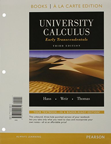 9780321999610: University Calculus: Early Transcendentals, Books a la Carte Edition (3rd Edition)