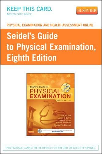 9780323172677: Physical Examination and Health Assessment Online for Seidel's Guide to Physical Examination (Access Code), 8e