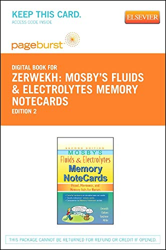 9780323172691: Mosby's Fluids & Electrolytes Memory NoteCards - Elsevier eBook on VitalSource (Retail Access Card): Visual, Mnemonic, and Memory Aids for Nurses