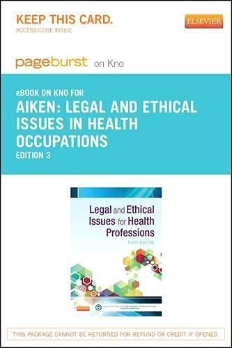 9780323241038: Legal and Ethical Issues for Health Professions - Elsevier eBook on Intel Education Study (Retail Access Card), 3e