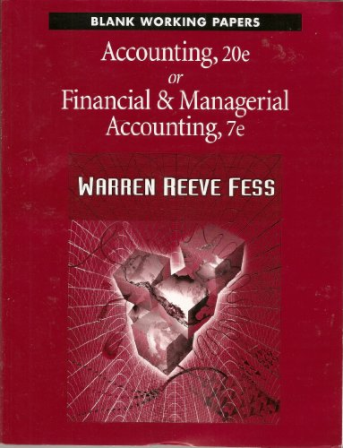 Blank Working Papers, Accounting: Carl S. Warren