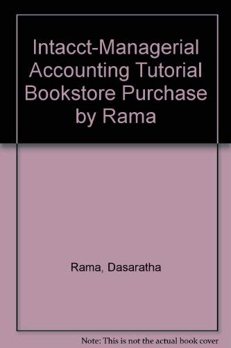 9780324055818: INTACCT: Managerial Accounting Tutorial Bookstore Purchase