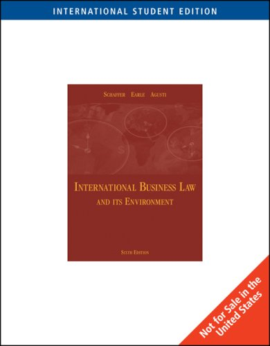 International Business Law and Its Environment: Agusti,Filiberto