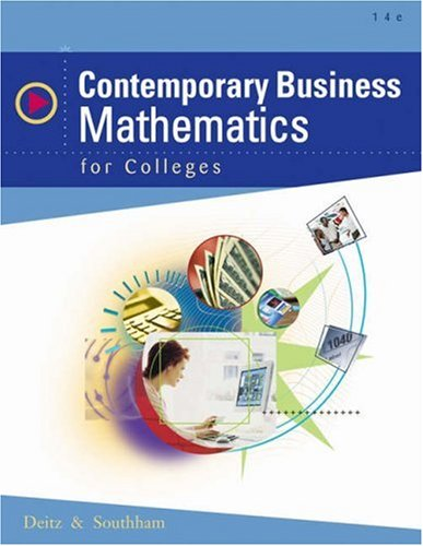 9780324318036: Contemporary Business Mathematics for Colleges (with CD-ROM)
