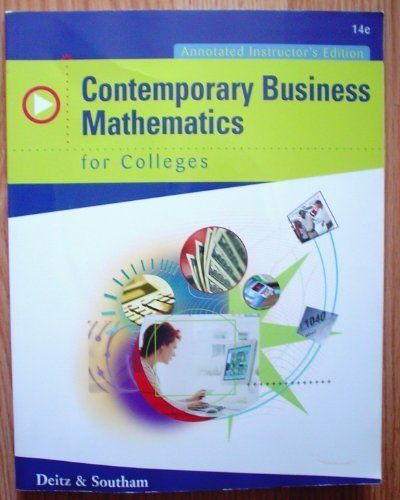 9780324318098: Contemporary Business Mathematics for Colleges - Annotated Instructor's Edition with CD