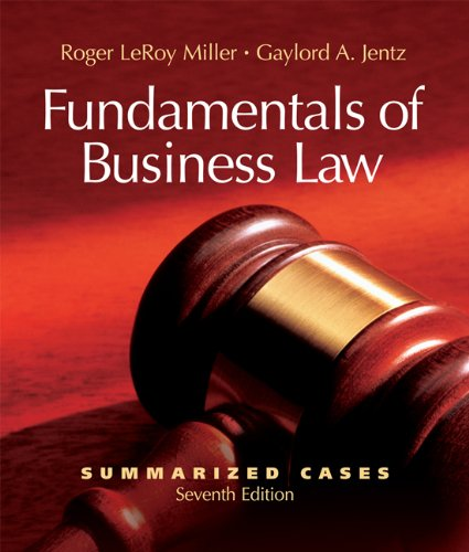 9780324381689: Fundamentals of Business Law Summarized Cases (with Online Legal Research Guide)