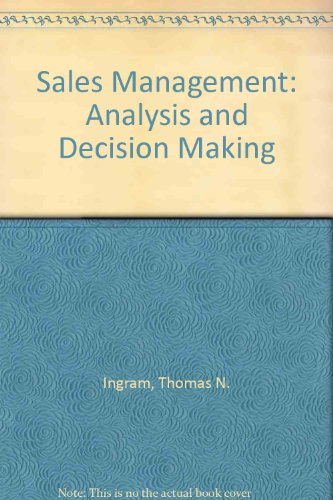 9780324538052: Sales Management: Analysis and Decision Making