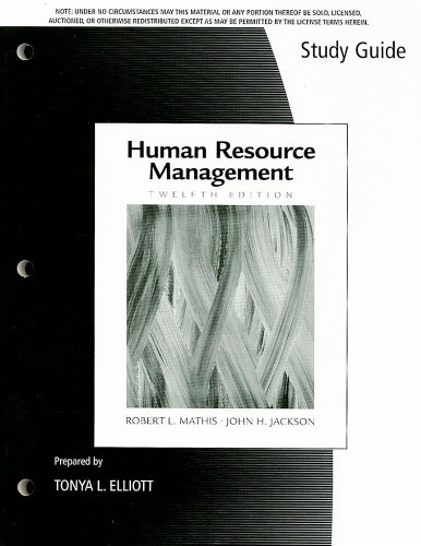 9780324578225: Study Guide for Mathis/Jackson's Human Resource Management, 12th