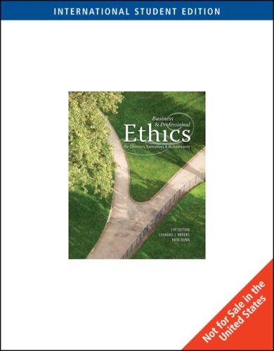 9780324594775: Business and Professional Ethics for Directors, Executives & Accountants, International Edition