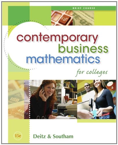 9780324595475: Contemporary Business Mathematics for Colleges, Brief Edition (with CD-ROM)