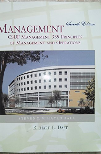 9780324628678: Mangement CSUF Management 339 Principles Of Management And Operations 7th Edition
