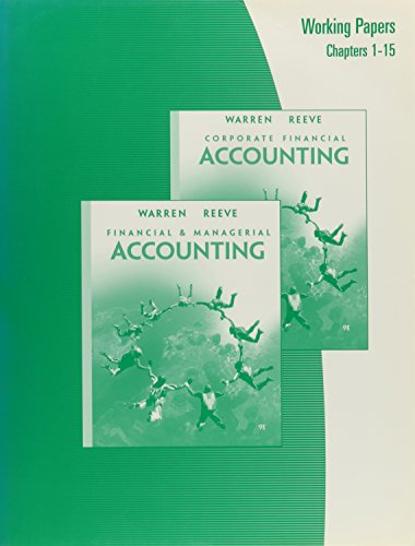 Working Papers Ch Cf1-Cf15-Corporate Financial Accounting: Warren, Carl S.