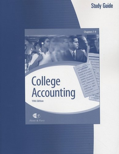 9780324640212: College Accounting (Chapters 1-9): Study Guide & Working Papers