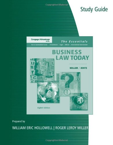 9780324654578: Study Guide for Miller/Jentz's Cengage Advantage Books: Business Law Today: The Essentials, 8th