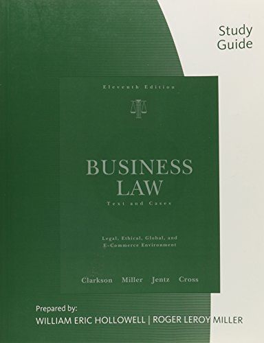9780324655254: Study Guide for Clarkson/Jentz/Cross/Miller's Business Law: Text and Cases, 11th