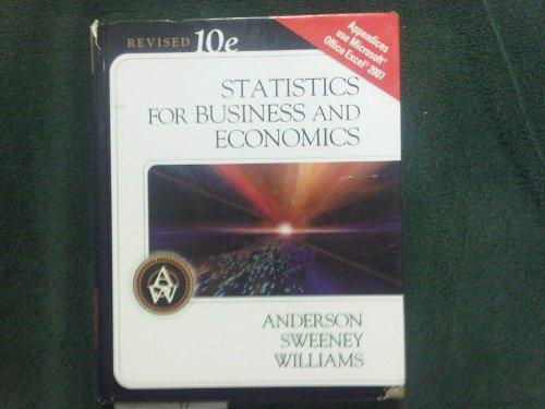 Statistics for Business & Economics, Revised (Book: David R. Anderson,