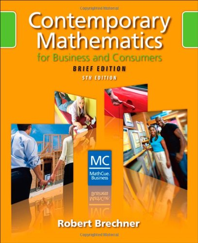 9780324658644: Contemporary Mathematics for Business and Consumers, Brief Edition (with CD-ROM)