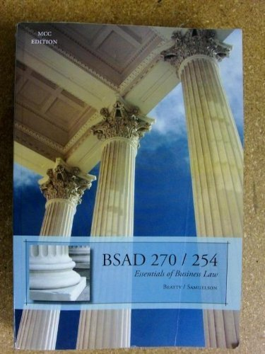 9780324668506: Essentials of Business Law BSAD 270/254 MCC Edition