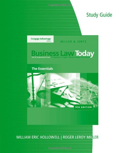 9780324786347: Study Guide for Miller/Jentz's Business Law Today: The Essentials