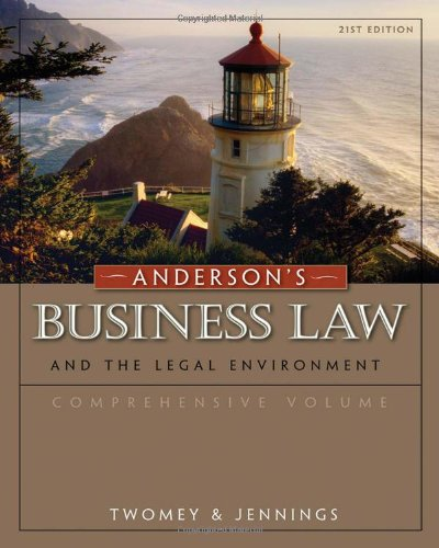 9780324786668: Anderson's Business Law and the Legal Environment, Comprehensive Volume