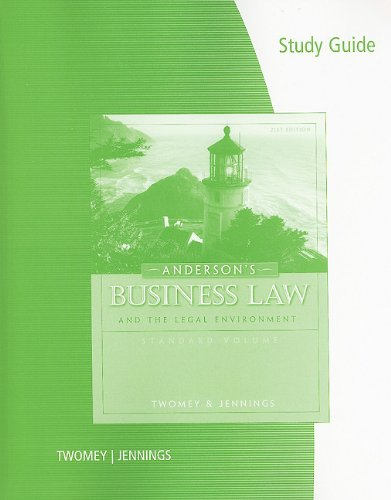 Study Guide for Twomey/Jennings' Anderson's Business Law: Twomey, David P.;