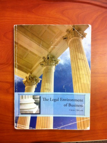 Title: LEGAL ENVIRONMENT OF BUSINESS: B., Frank; Miller, Roger LeRoy Cross