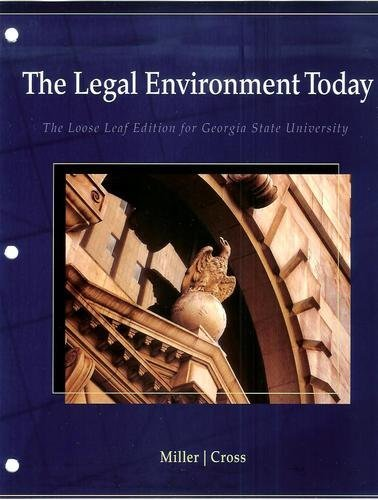 9780324834246: The Legal Environment Today (The Loose Leaf Edition for Georgia State University)