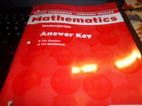 9780328049387: Scott Foresman Mathematics Kindergarten Answer Key ISBN 0328049387
