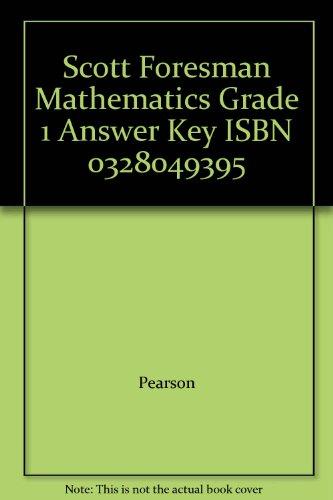 Mathematics, Grade 1, Answer Key: Scott Foresman - Addison Wesley