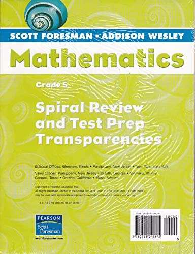 9780328049875: Mathematics, Grade 5, Spiral Review and Test Prep Transparencies