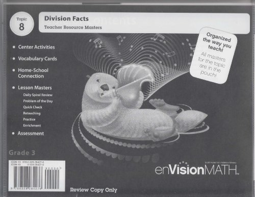 9780328284276: enVisionMATH - Topic 8 - Division Facts - Grade 3 – Review Copy.