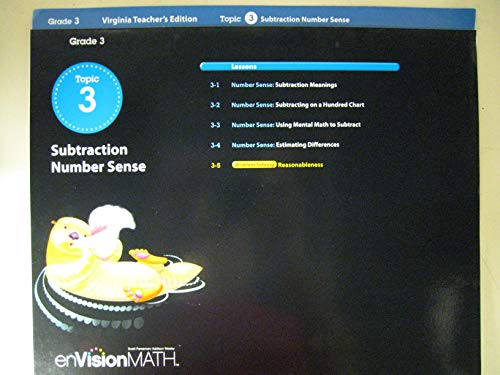 9780328609376: enVision Math, Virginia Teacher's Edition, Grade 3, Topic 3, Subtraction Number Sense