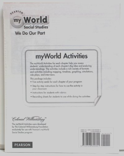 Pearson myWorld Social Studies - We Do Our Part - Activity Card Bundle Grade 2: Pearson
