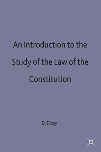 9780333015360: An Introduction to the Study of the Law of the Constitution