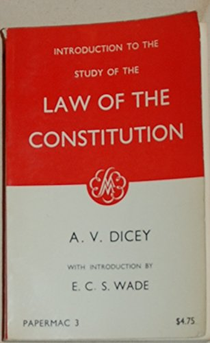 9780333052556: Introduction to the Study of the Law of the Constitution