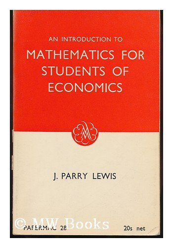 9780333073025: Introduction to Mathematics for Students of Economics