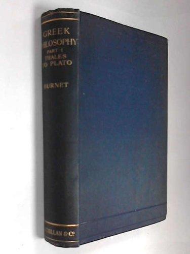 9780333086506: Greek Philosophy: Thales to Plato