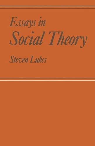 9780333196939: Essays in Social Theory