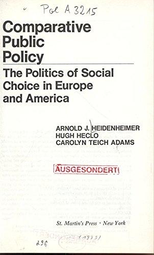 9780333199800: Comparative Public Policy