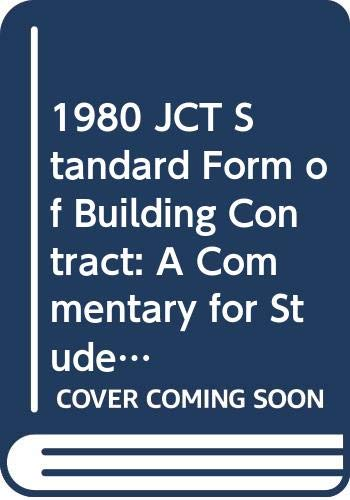 9780333321102 1980 Jct Standard Form Of Building Contract A
