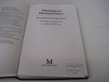 9780333443965: Theological Hermeneutics: Development and Significance
