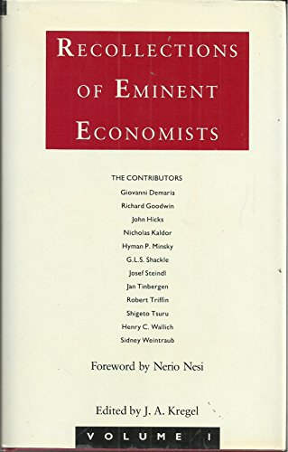 9780333449189: Recollections of Eminent Economists: v. 1