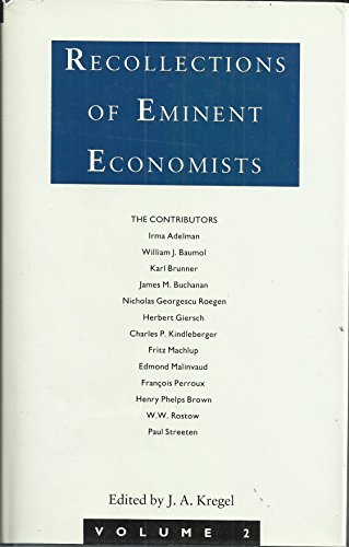 9780333449196: Recollections of Eminent Economists: v. 2
