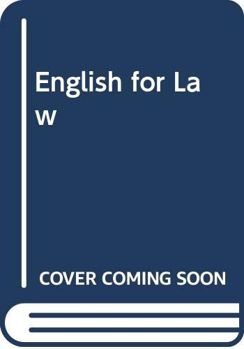 9780333493878: English for Law (Professional English Series)