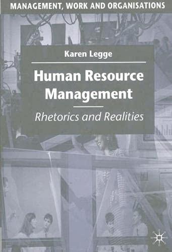 9780333572474: Human Resource Management: Rhetorics and Realities (Management, Work and Organisations)